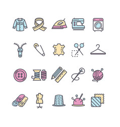 sewing and needlework tool color thin line icon vector image