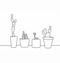 simple hand drawn cactus and succulents in pots vector image