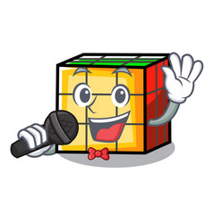 Singing rubik cube mascot cartoon vector
