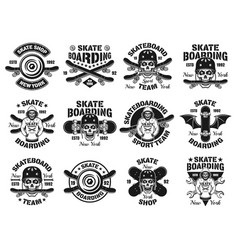 Skateboarding twelve isolated emblems vector
