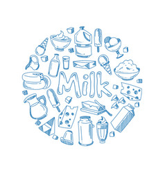 Sketch milk products farm breakfast vector