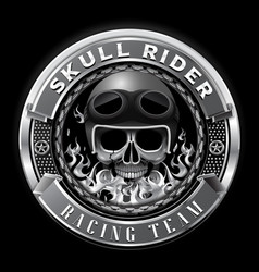 skull rider racing team badge club team vector image