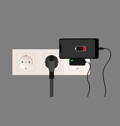 Smartphone charger adapter and electric socket vector