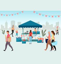 Street fishmarket flat people walk summer fair vector