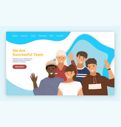 successful team landing page template with happy vector image