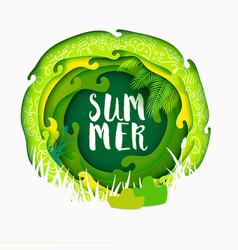 Summer lettering on paper art banner vector