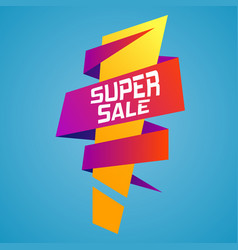 super sale ribbon banner with an exclamation mark vector image