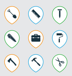 tools icons set with hatchet nail hammer and vector image