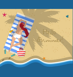 Top view of young sunburnt woman on sea beach vector