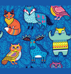 Tribal forest animals in blue vector