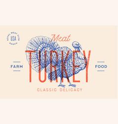turkey template label vector image