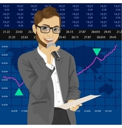 TV reporter with exchange graph chart data report vector image