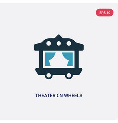 Two color theater on wheels icon from transport vector