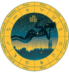 Virgo with the signs of the zodiac vector