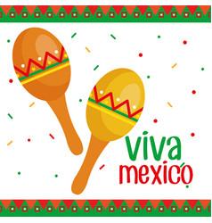 Viva mexico maracas poster vector