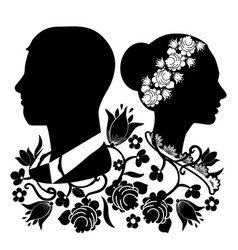 wedding silhouette with flourishes 4 vector image
