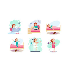 woman daily routine night and morning time girl vector image
