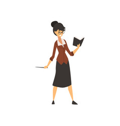 woman school teacher character standing with book vector image