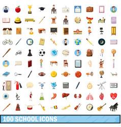 100 school icons set cartoon style vector image vector image