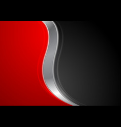 abstract red black background with metallic wave vector image vector image