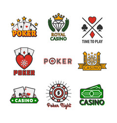 casino poker icons templates of chips and vector image