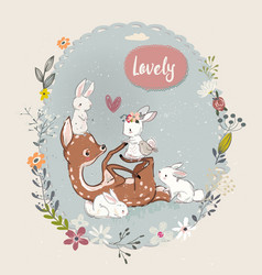 cute summer deer with hares vector image