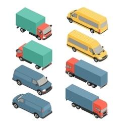 Flat 3d isometric city transport icons Car van vector image vector image