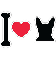 I love french bulldog with black shape dog vector image vector image