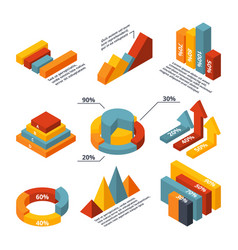 isometric diagrams for business infographic vector image