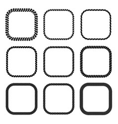 set of square black monochrome rope frame vector image vector image