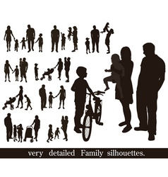 Set of very detailed family silhouettes vector image
