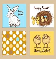 Sketch Easter posters set vector image