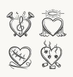 tattoo hearts hand drawn heart icons vector image