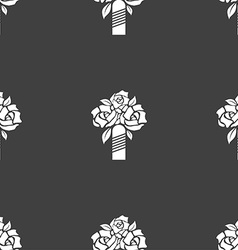 wedding bouquet icon sign Seamless pattern on a vector image vector image