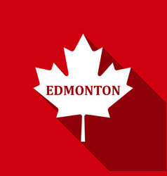 canadian maple leaf with city name edmonton flat vector image vector image