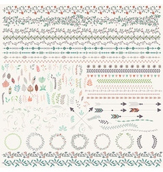 Hand drawn leaves arrows feathers wreaths vector image