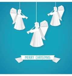 Origami Paper Angel - Christmas Background vector image