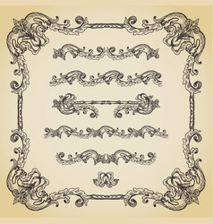 set of vintage swirls seamless borders and vector image vector image