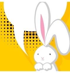 White cute rabbit comic bubble vector image vector image