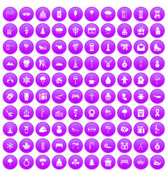 100 winter holidays icons set purple vector image vector image