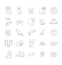 Animals pets flat thin line icons set vector image