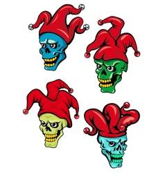 Cartoon clown and joker skulls vector image vector image