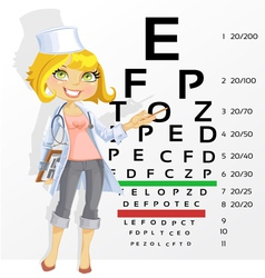 Doctor points table for testing visual acuity vector image vector image