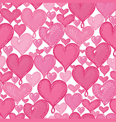 Doodle hearts seamless repeat pattern vector