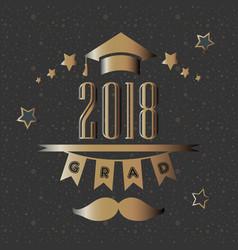 grad of class 2018 with mustache graduation cap vector image vector image