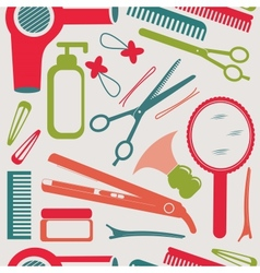 Hairdressing accessories pattern vector image