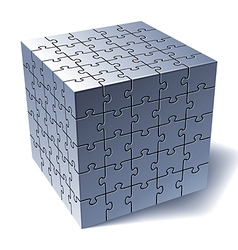 Jigsaw puzzle cube vector image