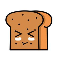 kawaii cute funny slice bread food vector image vector image