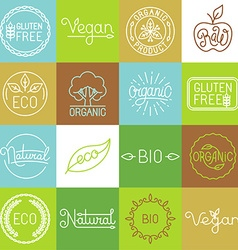 labels in trendy mono line style vector image vector image