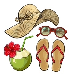 Summer time vacation attributes - hat sunglasses vector image vector image